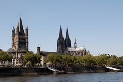 Close up of the basilica and the cathedral at the rhine river in cologne germany stock photo