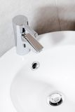 Close up of basin with mixer faucet Royalty Free Stock Photography