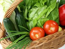 Close-up of a basket full of vegetables. Royalty Free Stock Photography