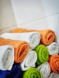 Close-up basket of pure towels. Close-up basket of pure color towels. Clean concept Royalty Free Stock Images