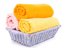 Close-up basket of pure colorful towels Stock Photography