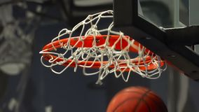 Basketball ball flies into the basket. stock footage