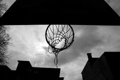 Close up of basketball hoop from below Stock Images