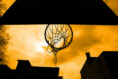 Close up of basketball hoop shot from below Royalty Free Stock Images