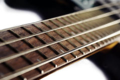 Close up of a bass guitar. Close up of the neck of a bass guitar Royalty Free Stock Photo