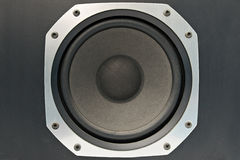 Close up of a bass speaker Royalty Free Stock Images