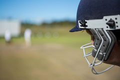 Close up of batsman at field. On sunny day stock image
