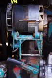 Close up of battered old farm tractor engine. Tractor machine stock photos