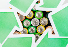 Close up of batteries and green recycling symbol Stock Images