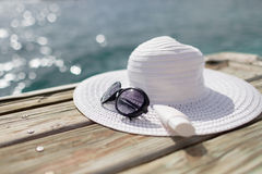 Close up of beach accessories at seaside Royalty Free Stock Photos
