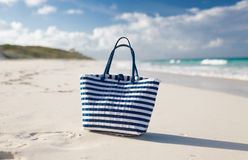 Close up of beach bag at seaside Stock Photography