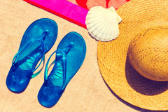 Close up of beach elements. Close up of various beach elements royalty free stock photo