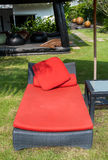 Close up beach red chair bed Stock Photography