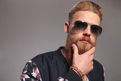 Close up of bearded young man Stock Images