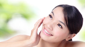 Close up of beautiful asian woman face. With green background Royalty Free Stock Photo