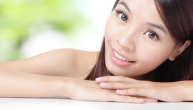 Close up of beautiful asian woman face Stock Images