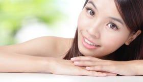 Close up of beautiful asian woman face Stock Images