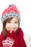 Close up of beautiful asian woman in hat, muffler and mittens. Royalty Free Stock Photos