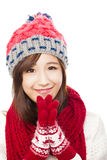Close up of beautiful asian woman in hat, muffler and mittens Stock Photography