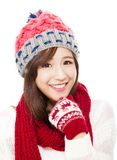 Close up of beautiful asian woman in hat, muffler and mittens. Stock Photography