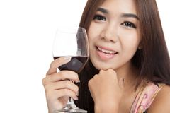 Close up beautiful Asian woman smile with red wine Royalty Free Stock Photography