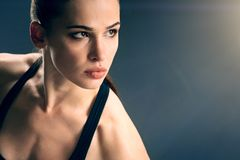 Close up of beautiful athletic woman wearing sport clothing stock images