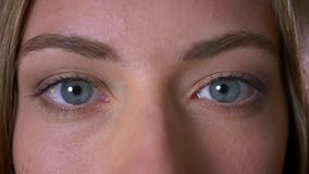 Close-up beautiful big blue eyes of caucasian female looking at camera not blinking and focused.  stock footage