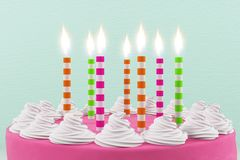Festive concept. Close up of beautiful birthday cake with lit candles on light background. Festive concept. 3D Rendering Royalty Free Stock Photo