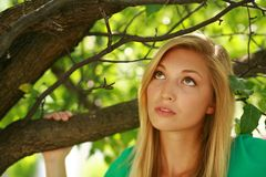 Close up of beautiful blonde woman outside Royalty Free Stock Photo