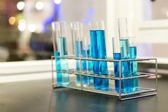 Close up of beautiful blue colorful chemistry liquid in test tube for laboratory or science royalty free stock photo