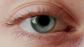 Close-up beautiful blue eye. Close-up macro eye opening human iris natural beauty stock video