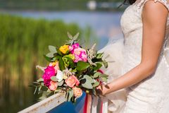 Close-up of beautiful bride bouquet. stock images