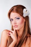 Close-up of the beautiful brown-haired lady. Royalty Free Stock Photography
