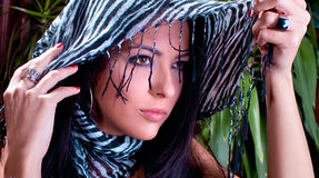Close up beautiful brunette with scarf posing stock photos