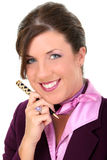 Close Up of Beautiful Businesswoman Holding Pen Royalty Free Stock Image
