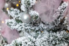 Close up on beautiful christmas ornament. snow made of foam.  royalty free stock image