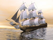 Old merchant ship - 3D render Stock Photos