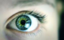 Close up beautiful eye. Close up of eye with beautifully textured iris royalty free stock image