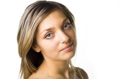 Close-up of beautiful face. Isolated on white Stock Images