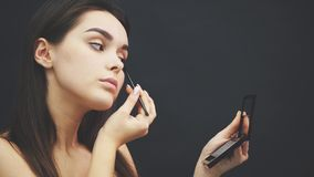 Close-up of a beautiful face of a young girl get a makeover. Woman applying an eye shadow on her eyebrows by brush stock footage