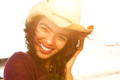 Close up beautiful fashion model smiling with hat Royalty Free Stock Photos