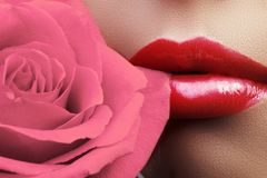 Lips with bright lipgloss makeup. Perfect clean skin, fresh lip make-up. Beautiful spa with tender pink rose flower. Close-up beautiful female lips with bright royalty free stock image