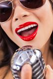 Close Up Woman Singing Mouth & Vintage Microphone Stock Photos