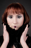 Close-up of beautiful girl with chess makeup Royalty Free Stock Photography