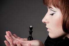 Close-up of beautiful girl with chess makeup Royalty Free Stock Photo
