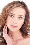 Close-up of beautiful girl with clear maekeup Stock Photography