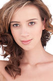 Close-up of beautiful girl with clear maekeup Royalty Free Stock Photo