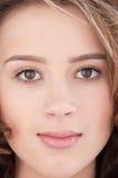 Close-up of beautiful girl with clear maekeup Stock Photos