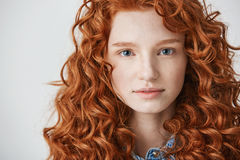 Close up of beautiful girl with curly red hair and freckles looking at camera over white background. royalty free stock image
