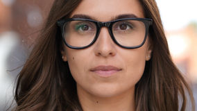 Close Up of Beautiful Girl Face in Glasses, Outdoor Stock Photography